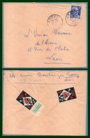 Crouy (Aisne 02 ) Type A 7 1954 /N° Gandon Verso Vignette Ecole Publique Ligue De L'Enseignement - Commemorative Labels