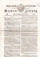 1817 Oesterreichische Kaiserliche Privilegierte Wiener Zeitung Mit 8 Eck Stempel: W. 1.K, Zeitung 817 - Magazines & Newspapers