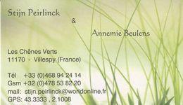 CDV - M Stijn Peirlinck & Mme Annemie Beulens - 11170 Villespy - France - Visiting Cards