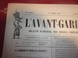 1913 L AVANT GARDE ZOUAVES PONTIFICAUX 1 ER AOUT 1913 N°545 ROYALISTE LEGITIMISTE - Guerra 1914-18