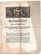 MANDEMENT De M. L' EVEQUE D' AGEN, Pour Un Te Deum ... Victoires Remportées En Bavière Et Lettre De L'Empereur NAPOLEON. - Historical Documents
