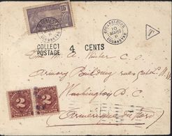 Guadeloupe YT 60 CAD Gouadeloupe Gourbeyre 10 3 06 Pour USA Taxe T + Taxe US N°30 X2 Collect Postage 4 Cents - Covers & Documents