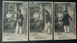 Lot Série De 3 CPA Précurseur, Carte Postale, Couple - Paare