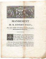 MANDEMENT De M. L' EVEQUE D' AGEN, Pour Faire Chanter Le Te Deum, En Actions De Grâces De La Victoire De WURTCHEN, 1813. - Historical Documents