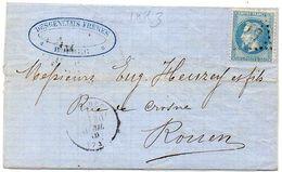 Lettre (LAC) Adressée De BOLBEC (GC 516) A ROUEN - Yvert 29 B   (119578) - 1849-1876: Période Classique
