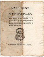 MANDEMENT De M. L' EVEQUE D' AGEN, Qui Ordonne Un Service Solennel Pour Leurs Majestés Les Rois LOUIS XVI Et LOUIS XVII. - Historical Documents