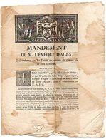 MANDEMENT De M. L' EVEQUE D' AGEN, Qui Ordonne Un Te Deum En Actions De Grâces De LA PAIX GENERALE, 1814. - Historical Documents