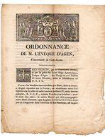 ORDONNANCE De M. L' EVEQUE D' AGEN, Concernant Le Catéchisme, 1814. - Historical Documents