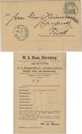 Bayern - 3 Pfg. Wappen, Wz.4, Drucksachenkarte Nürnberg - Fürth 1889 - Bavaria