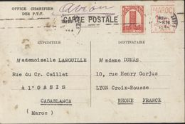 """Entier Postal De Fortune Empreinte Machine à Affranchir EMA B0005 Légende Imprimée """"carte Postale"""" Office Chérifien PTT - Marruecos (1891-1956)"""