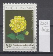 103K2201 / 1982 - Michel Nr. 1244 Used ( O ) Flowers Fleurs Blumen - Gelbe Dahlias Dahlia Dahlien  , Vietnam Viet Nam - Viêt-Nam