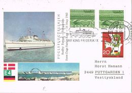 36903. Tarjeta PAQUEBOT Rodby Fehmern (Danmark) To Puttgarden 1973. M/F Kong Frederik IX - Lettres & Documents