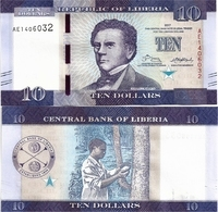 LIBERIA       10 Dollars       P-32b       2017       UNC - Liberia