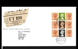 Great Britain FDC 1988 FT100 Booklet Pane (NB**LAR9-142) - FDC