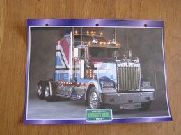 KENWORTH  W 900 L 1993  USA Trucks Trailers Transport Fiche Descriptive Camion Truck Camions - Autres