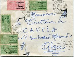 ALGERIE LETTRE AFFRANCHIE AVEC DES TIMBRES FISCAUX REFUSES POUR AFFRANCHISSEMENT +- TAXES DEPART MOSTAGAMEM POUR ALGER - Algerije (1962-...)