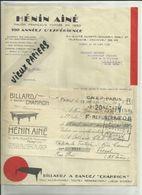 """75 - Paris - Facture Hénin Ainé - Cité Petit Thouars - Billards à Bandes """" Champion """"  - 1935 - Réf 43 - - France"""