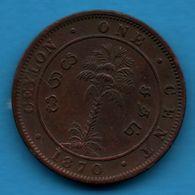 SRI LANKA CEYLON 1 CENT 1870  KM# 92 VICTORIA - Sri Lanka