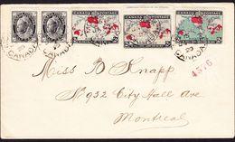 """1899  3 """"map Stamps"""" Mit Zusatzfrankatur Aus Montreal (Lokalbrief) - Cartas"""