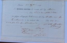 LIVORNO - IO MICHELE SARTORI Ho Ricevuto ....per Colli D'invio....RICEVUTA IN DATA 17 AGOSTO 1848 - Italie