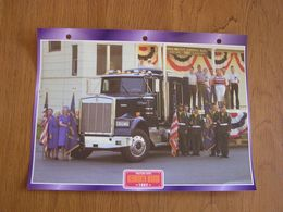 KENWORTH  W 900 B 1982 USA Trucks Trailers Transport Fiche Descriptive Camion Truck Camions - Autres