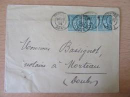 Enveloppe 1899 - Bande De 3 Timbres Sage 5c N°75 - Double Daguin - Troyes Vers Morteau - 1877-1920: Période Semi Moderne