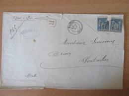 Enveloppe / Recommandé 1889 - 2 Timbres Sage 15c N°90 - Morteau Vers Pontarlier - Marcophilie (Lettres)
