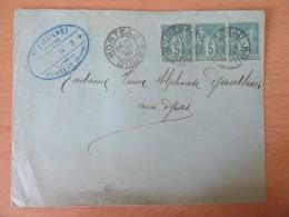 Enveloppe 1898 - Bande De 3 Timbres Sage 5c N°75 - Morteau Vers Les Gras - 1877-1920: Période Semi Moderne