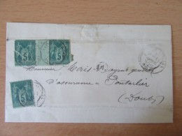 Enveloppe 1888 - Timbres Sage 5c N°75 - Lac Ou Villers Vers Pontarlier - Cachet Origine Locale - 1877-1920: Période Semi Moderne