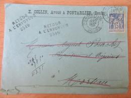 Env. 1898 - Pontarlier Vers Morteau - Timbre Sage 15c N°101 - Retour à L'envoyeur - Griffes Manuscrites Des Facteurs - Marcophilie (Lettres)