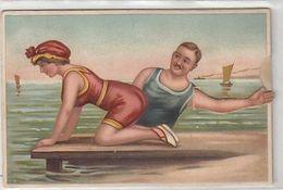 Im Strandbad - Beim Ziehen Bewegt Sich Der Arm Des Badenden Richtung Hintern Der Frau      (A-244-200305) - Cartoline Con Meccanismi