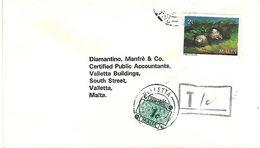Malta 1987 Valletta Snail Shell Handstamp Postage Due 1c Underfranked Domestic Cover - Malte