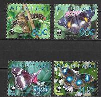 Aitutaki 2008, WWF - Butterflies, MNH Stamps Set - Aitutaki
