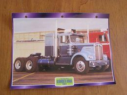 KENWORTH  W 900 1961  USA Trucks Trailers Transport Fiche Descriptive Camion Truck Camions - Autres