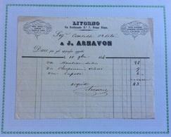 LIVORNO - MODE GUARNIZIONI DA TESTA E DA TEATRO GUANTI IN PELLE...J.ARNAVON - FATTURA DEL 10 OTTOBRE 1846 - Italie