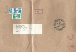 Malta 1994 Valletta Handstamp Postage Due Manchester 2c 5c Underfranked Cover. Extremely Rare On Cover - Malte