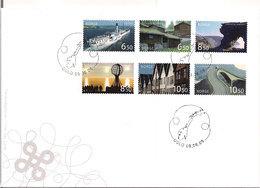 Norge Norway 2006 Tourist Stamps, Ship, Mountians, Roads, Bridge, Polar Circle, Bergen, Mi 1581-1586, FDC - Norwegen