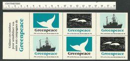 B58-05 CANADA Greenpeace Sheet 7 Montreal 1990 MNH Boat Dolphins Whale - Werbemarken (Vignetten)