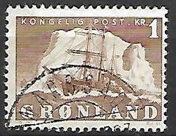 """GROENLAND    -   1950  .  Y&T N° 25 Oblitéré.   Bateau   """" Le Gustav Holm """" - Groenland"""