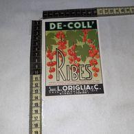 TL0283 SUCC. L. ORIGLIA & C. RIVOLI TORINO DE-COLL SCIROPPO DI RIBES - Etiquettes