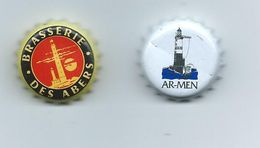 B 62 -2 CAPSULES - THEME PHARES -ARMEN- BRASSERIE DE TREGUNC(BRITT)- ÎLE VIERGE- BRASSERIE DES ABERS (PLOUGUERNEAU) - Beer