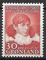 GROENLAND    -   1960  .  Y&T N° 34 **.  Knud Rasmussen  /  Thulé - Groenland