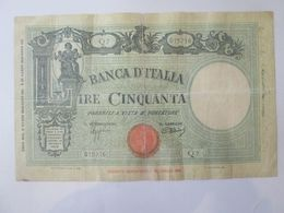 Rare! Italy 50 Lire 1943 Banknote - [ 1] …-1946: Königreich