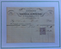 LIVORNO - MODE DI PARIGI  NASTRI E TRINE NEGOZIO ISABELLA ALMERIGHI - FATTURA DEL 7/4/1870 - Italie