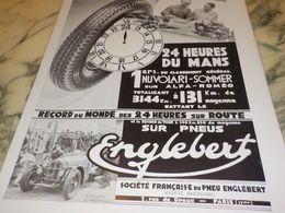 ANCIENNE PUBLICITE 245 HEURES DU MANS PNEU ENGLEBERT  1933 - Transporto