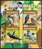 Bloc Sheet Oiseaux Hirondelles Birds Swallows Andorinhas Neuf MNH **  Mocambique Mozambique 2016 - Swallows