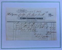 LIVORNO - FATTURA DI GIO BATTISTA FOLINI : Lume In Ottone Cilindro E Globo Opaco Carcassa Foglio Verde....DEL 30/10/1849 - Italie