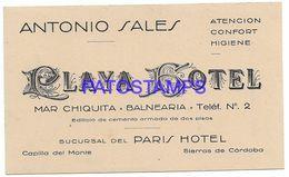 137091 ARGENTINA CORDOBA CAPILLA DEL MONTE PUBLICITY PLAYA HOTEL SUCURSAL DEL PARIS HOTEL CARD NO POSTAL POSTCARD - Argentine