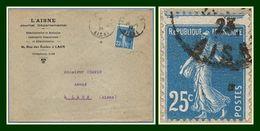Laon Gare Jumelé (Aisne 02 ) Type A 4 1926 /N° 140 Variété Piquage > Laon TA4 Journal Départemental - 1906-38 Semeuse Camée