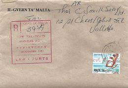 Malta 1996 Valletta Law Courts AR Advice Of Receipt Registered Domestic Cover. Special Government Rate - Malte